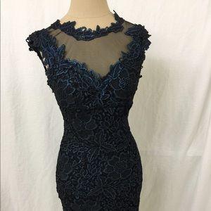 Cache Metallic Blue Lace Size 0 Cocktail Dress